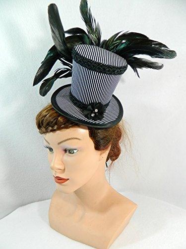 Mini Zylinder schwarz weiß gestreift Damenhut Fascinator (Kostüm Showgirl Weiß)