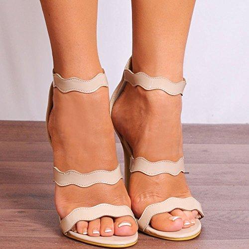 Nue Brevet Incurvé à Peine Là Strappy Sandals Escarpins Peep Toes Chaussures Hauts Talons Brevet Nue