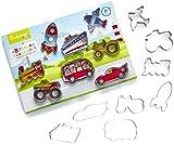 Cooksmart Kids 8-Piece Stainless Steel Transportation Cutter Set