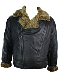 Mens Vintage Winter Real Sheepskin Leather Aviator Flying Jacket Brown & Ginger Cross Zip