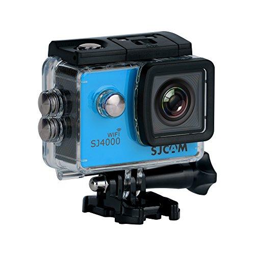 SJCAM SJ-4000-WiFi SJ4000 Deutsche Version Wasserdichte Sport Actionkamera (5,08 cm (2 Zoll), FHD, 1080p, 30m, 12MP, 16 Zubehörteile) blau