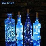 Wokee 20 LED Flaschen-Licht,2M,Flaschenlichter Lichterketten Nacht Licht,Solar Kork Wein Flaschenverschluss Kupferdraht für Hochzeit Party Romantische Deko (Blau)
