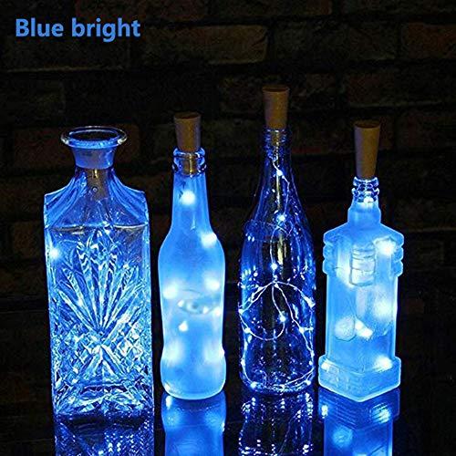 n-Licht,2M,Flaschenlichter Lichterketten Nacht Licht,Solar Kork Wein Flaschenverschluss Kupferdraht für Hochzeit Party Romantische Deko (Blau) ()