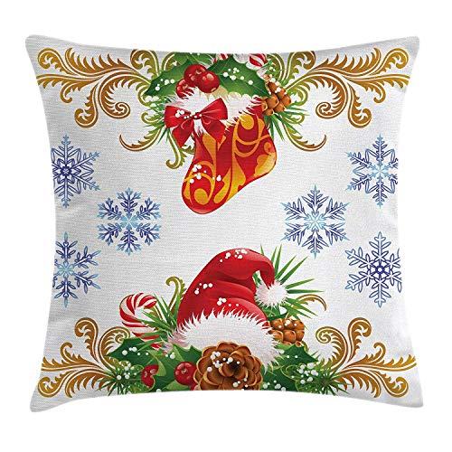 n Kissenbezug, klassisches traditionelles Design mit Strumpf und Santa Claus Hut Mistel Schneeflocken, dekorative quadratische Akzent Kissenbezug, Multi ()