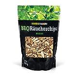 Räucherchips Buche für tolles Raucharoma beim Grillen - 100% natürliches Smoker Holz | Ergiebige und sparsame wood chips für Stand- und Kugel-Grill sowie Smoker | 500g