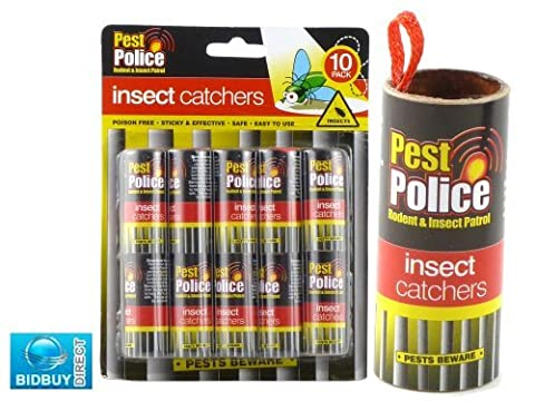 NEW PACK OF 10 STICKY INSECT FLY BUG WASP CATCHER