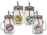 Bada Bing 4er Set Trinkglas Einhorn COMIC mit Henkel und Deckel Strohhalm Unicorn Magic Mädchen Trend Garten Sommer 823