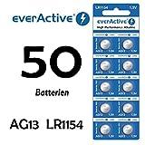 NEMT 50 x Everactive AG13 / 147 / LR44 / SR44W / 357 Knopfzelle Uhrenbatterie 1,5 V