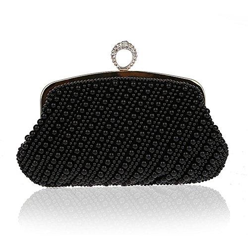 Harson&Jane Luxus Handgefertigt Perle Strass Unterarmtasche Prom Hochzeit Abend Geldbörse Handtasche Schwarz