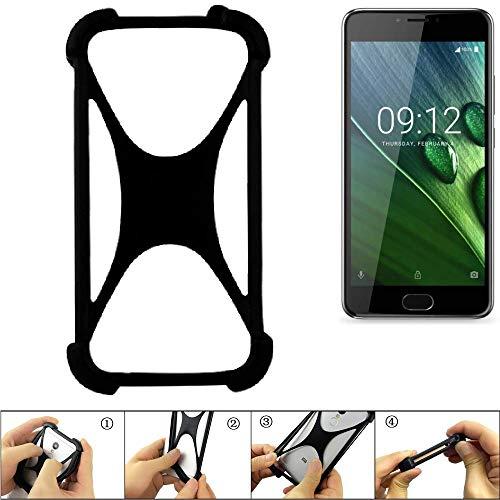 K-S-Trade Handyhülle für ACER Liquid Z6 Plus Schutz Hülle Silikon Bumper Cover Case Silikoncase TPU Softcase Schutzhülle Smartphone Stoßschutz, schwarz (1x)