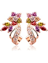 Yellow Chimes Swiss Cubic Zirconia 18K Rose Gold Plated Multi Color Stud Earrings for Women and Girls