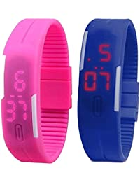 Kissu Led Band Watch Combo Of 2 Pink And Blue For Boys, Girls, Men, Women