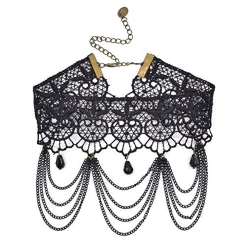 EROSPA® Gothic-Collier Halsband aus edler schwarzer Häkelspitze Steampunk Retro Burlesque 8 verschiedene Modelle (F125 A)