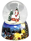 Minium Collection 20082b Schneekugel Winter Weihnachtsmann Steigt in Kamin mit Porzellansockel 65mm Diameter