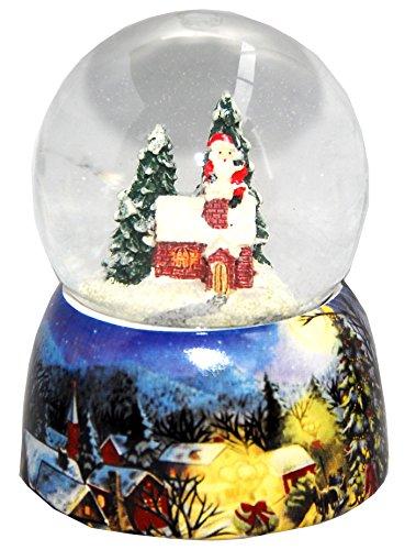 20082b Minium Collection Boule á neige Hiver Père Noël monte dans une cheminée avec base en porcelaine 65mm Diamètre