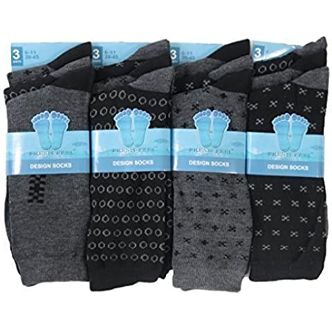 12pares para hombre Designer talón Velt Toe diseño diario mezcla de algodón Suit Calcetines, diseño de patrón zapato tamaño