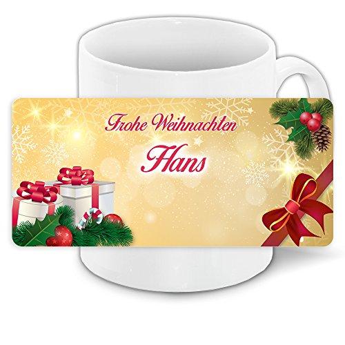 Tasse mit Namen Hans und winterlichem Motiv Bär mit Brille und Pullover - Tasse zu Weihnachten