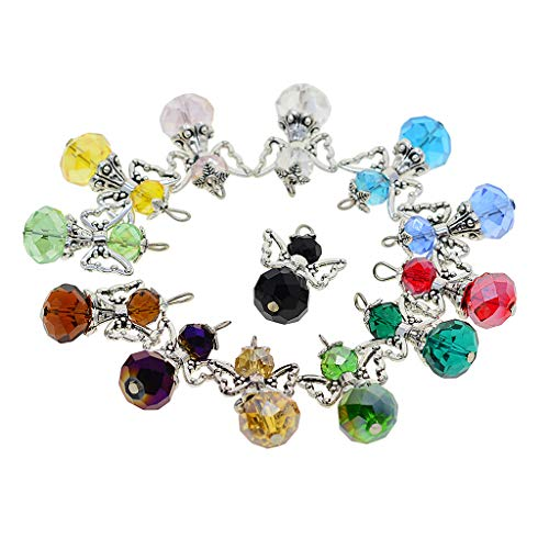 (D DOLITY 12 Stück Tibetische Silber Acryl Perlen Perlenengel Schutzengel Anhänger Charms Flügel Schmuckanhänger für Schmuckherstellung Basteln Deko - Mehrfarbig)