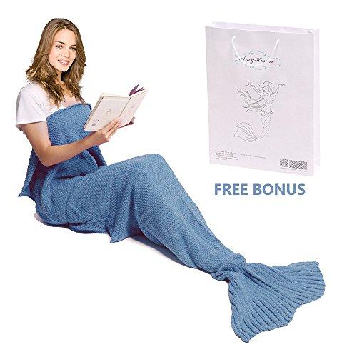 Meerjungfrau Decke, Amyhomie Handgemachte häkeln meerjungfrau flosse decke für Erwachsene, Mermaid Blanket alle Jahreszeiten (Disney Kostüme Für Erwachsene Besten)