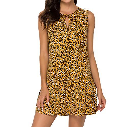 SHE.White Leopard Sommerkleider Damen Casual Ärmellos T-Shirt Kleid Blumen Bedrucktes Strandkleider Sommer Rundhals Hohl Boho Tank Kleid