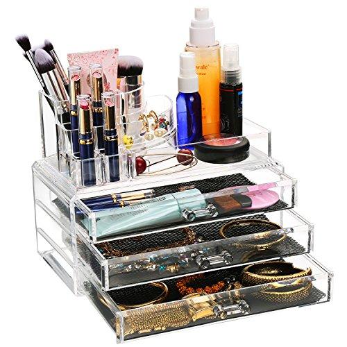 BATHWA Acryl Make Up Aufbewahrung Box Kosmetik Organizer mit 3 Schubladen, 4 Schichten Transparent 24 x 13 x 18.5cm (L x W x H)