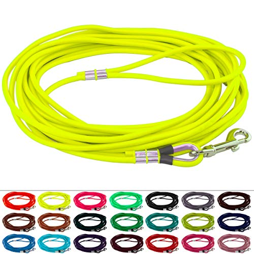LENNIE BioThane Schleppleine, rund, Ø 6mm, Hunde 15-25kg, 20m lang, mit Handschlaufe, Neon-Gelb