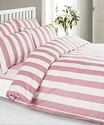Louisiana Bedding Vertical Stripe Pink & White Duvet Cover Set 100% Cotton 200 Thread Count, Single Double King SuperKing - low-cost UK light shop.
