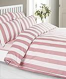 Louisiana Bettwäsche Vertikale Streifen rosa & weiß Bettbezug Set 100% Baumwolle 200 Fadenzahl Kissenbezug Bettdecke 140x200 cm + 1 x Kopfkissenbezug