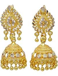 0fb2a22e292a Banithani Oro Jhumka gota cuelgan aretes plateado india de Bollywood  Joyería étnica