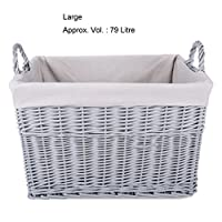 Home Storage Grey Painted Rectangular Wicker Basket Laundry Toys Baby Nursery Collection Box