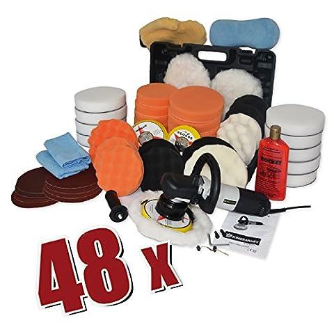 Kingbarney XXXXL Profiset - Exzenter Poliermaschine/Polierer inkl. Koffer 710 Watt Set 5 + Polierschwamm Zubehörset - Schleifmaschine - 49 Teile - Auto