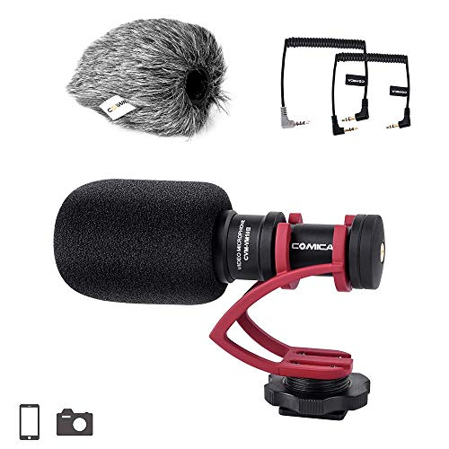 Comica CVM-VM10II Kamera-Mikrofon Cardioid Richtungskondensator Shotgun Video Mikrofon für Canon, Nikon, Fuji, Sony, Panasonic, Olympus DSLR-Kameras, Smartphones usw. (mit Wind Muff) (rot)