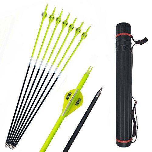 SHARROW 12pcs Flechas de Carbono 30 Pulgadas con Flecha Carcaj Spine 500 para Arco Compuesto Recurvo Flechas de Caza (Amarillo)
