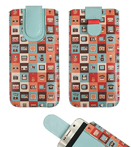 emartbuy Gadgets Premium-Pu-Leder-Slide In Case Abdeckung Tashe Hülle Sleeve Halter (Größe LM4) Mit Zuglaschen Mechanismus Geeignet Für Die Unten Aufgeführten Smartphones