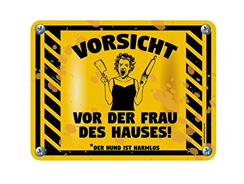 Shirtzshop Vorsicht vor der Frau des Hauses-Der Hund ist harmlos Aufkleber Autoaufkleber Sticker Vinylaufkleber Decal -