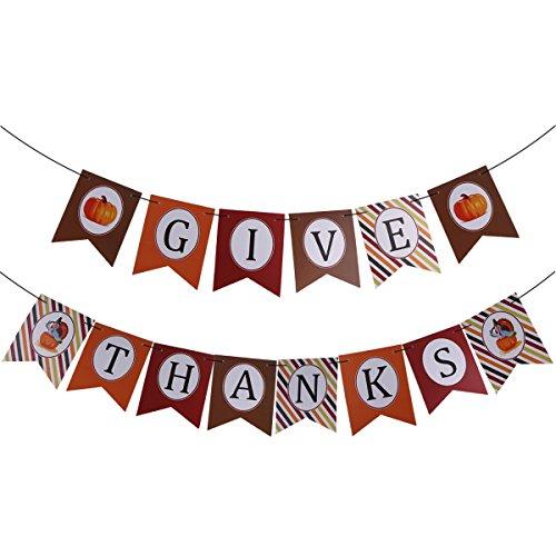 Tinksky Geben Sie Dank Bunting Banner Hochzeitsfeier Girlande Flagge Dekor Zubehör Happy Thanksgiving Dekoration Banner -