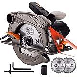 TACKLIFE 1500W 4700RPM Sierra Circular, Sierra Compatible Hoja: 185 y 190mm, Corte 63mm (90º), 45mm (45º), Protector de Aluminio, Motor de...