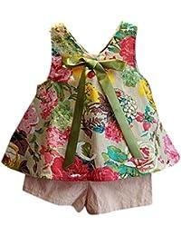 Ensembles Shorts et Haut Fille, Bonjouree T-Shirt Gilet à Fleurs et Pantalons Courts Pour Enfant Fille 1-6 Ans