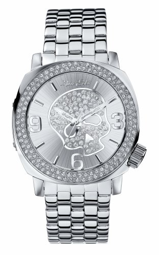 Marc Ecko E15024G2 Unisex Analogue Polished Silver Tone Iced Watch With Silver Skull Detail