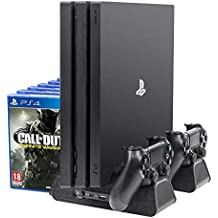 PlayStation Soporte Vertical con ventiladores, estación de carga para dos Dual Shock controles, estante de almacenamiento para 12 Discos de Juego – ElecGear Vertical Stand, Cooling Fan Cooler and Charging Station Charger for PS4 /Pro /Slim and DualShock 4 Controller