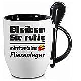 Sprüche Tasse Kaffee macht schön+ Löffelbecher Schwarz Bleiben Sie ruhig FLIESENLEGER. 2 Tassen ein Preis. Siehe Produktbild 2.
