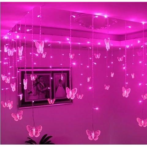 Multi 3.5M 100SMD mariposa LED cortina de luces vacaciones de Navidad decoración de la boda