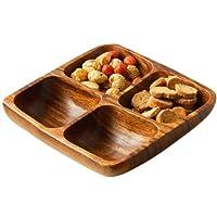 Premier Housewares Acacia Wood 4 Section Square Serving Dish, 5 x 20 x 20 cm
