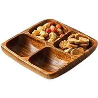 Premier Housewares - Bandeja o fuente cuadrada para aperitivos (madera de acacia, 5 x 20 x 20 cm, 4 secciones)