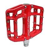 NC-17 Sudpin I Pro Aluminium Plattform Pedale / Fahrrad Pedale MTB / Mountainbike Pedal / BMX Pedal / Kugellager + Cr-Mo Achse / inklusiv Ersatzpins,  Rot