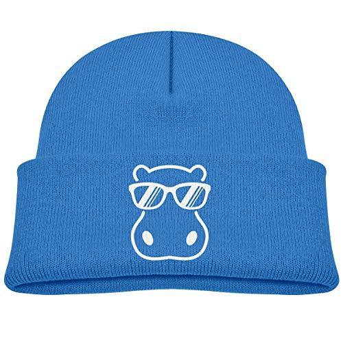 ADGoods Kids Children Hippopotamus Wearing Sunglasses Beanie Hat Knitted Beanie Knit Beanie for Boys Girls Kinderbaseballmütze