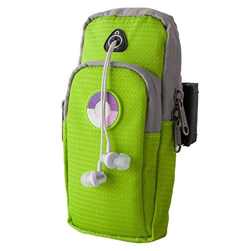 Milool UV-Test-Intensität:-4 Smileys zeigen an,Sportarmband Handytasche Armtasche für iPhone,Nexus 5 Smartphone und alle nicht größer als 5.0-6 Zoll gerät,geeignet für Gymnastik,Jogging,Rad fahren,Wandern,Reiten,Golf, Einkaufs und mehr(Grün)