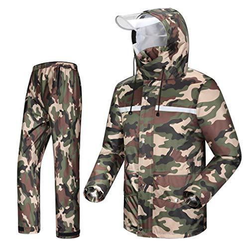 LAXF-Regenbekleidung Regenanzug (Regenjacke und Regenhosen Set) Erwachsene Regenproof Windproof Hooded Outdoor Arbeit Motorrad Golf Angeln Wandern Jagd Camo (größe : XL) -