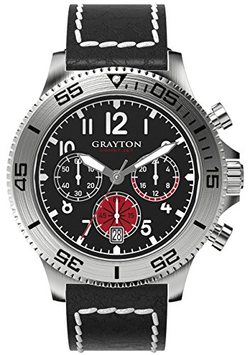 Grayton Comet.Jet Men's Quartz Watch with Black Dial Analogue Display and Brown Leather Strap GR-0014-004.1