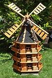XXL,ÖLBAUM Premium-Windmühle, Massivholz, WMB160at-OS OHNE SOLAR , auf Wunsch: Windmühle mit solar (*Zubehör Nachtbeleuchtung), für Außen 1,60 m groß, Farbe schwarz, anthrazit
